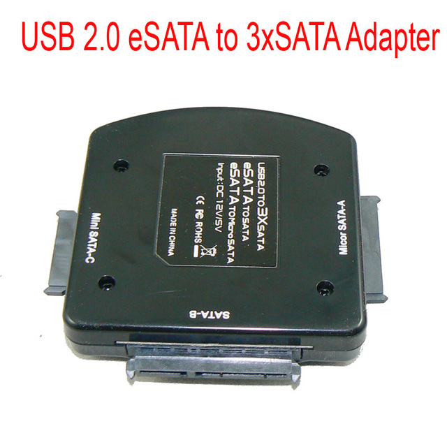 "Clearance Price!!! High Speed 2.5"" HDD USB 2.0 Esata to 3xSata Adapter with Micro SATA SSD and Mini SATA Free Shipping"