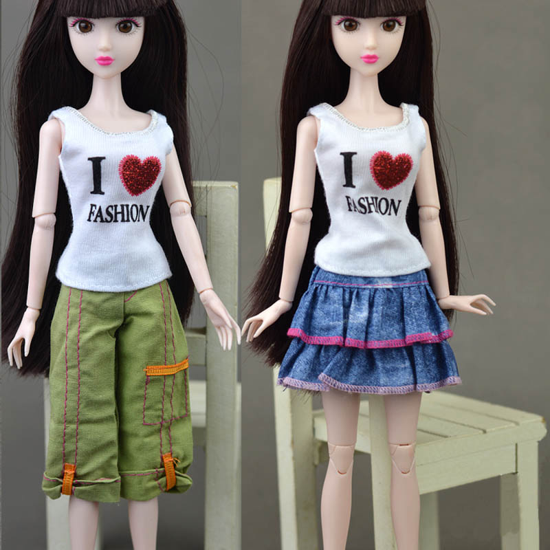 3pcs Set Doll Accessories Clothes For Barbie Doll I Love Fashion T Shirt Blue Skirt Green Shorts For Barbie Doll House Toys