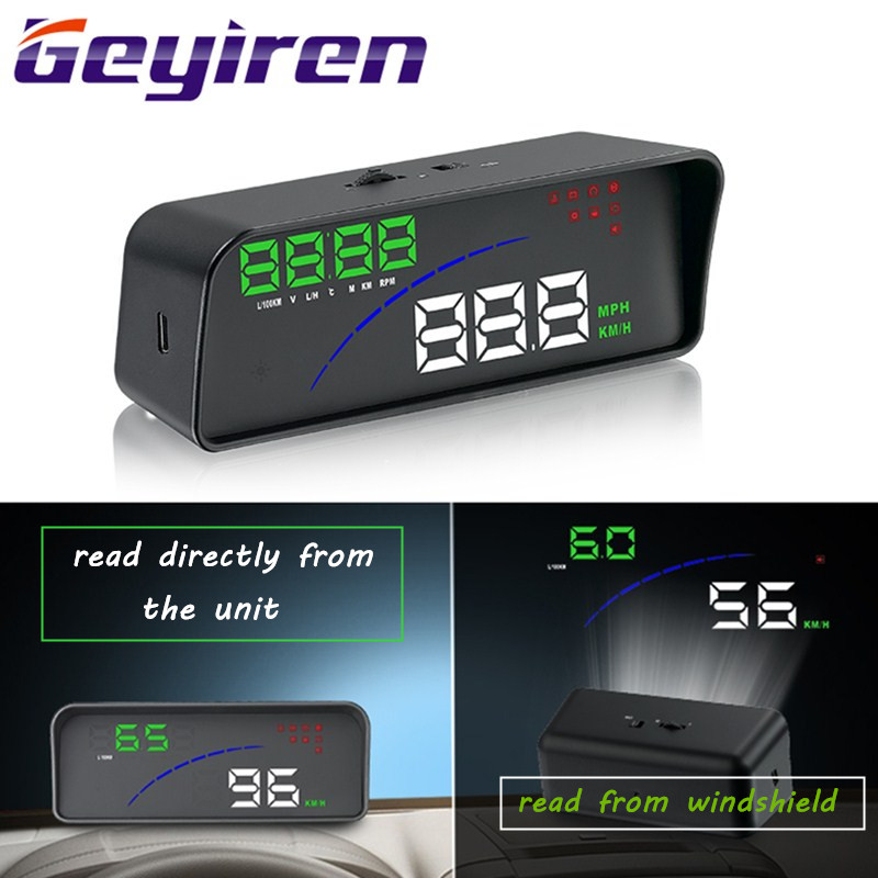 GEYIREN P9 Car HUD Head Up Display OBD Smart Digital Meter For Most OBD2 EUOBD Cars P9 HD Projector Display The Car Dashboard