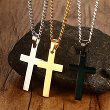 1PC Sale Black Blue Christian Men stainless steel Link Chain Necklace Women Cross Pendant Solid Color Fashion Jewerly