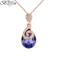 Original Crystal From SWAROVSKI Maxi Waterdrop Necklaces Pendants Rose Gold Plated Chain Collier Bijoux For Women