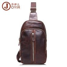 2017 Genuine Leather cowhide chest pack Men's Crossbody chest bags Vintage Zipper small Shoulder bag for male men Belt Bag B509