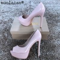 14CM Peep Toe Women Platform Pumps Sexy Summer Sandals Woman High Heel Shoes Lady Red Leopard Black Patent Leather High Heels