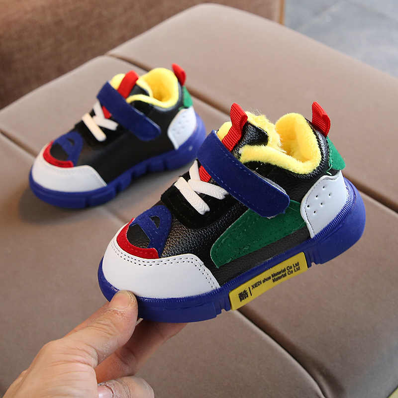 Toddler Baby Casual Shoes Winter Boy Girl Thicken Soft Bottom Antiskid Patchwork Infant Shoes Brand Newborn Velvet Warm Sneakers