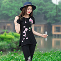 Ethnic Elegant Lotus Petal Embroidery T Shirt Fashion Summer New Casual Cute Tops For Women Large Size Black White Blue