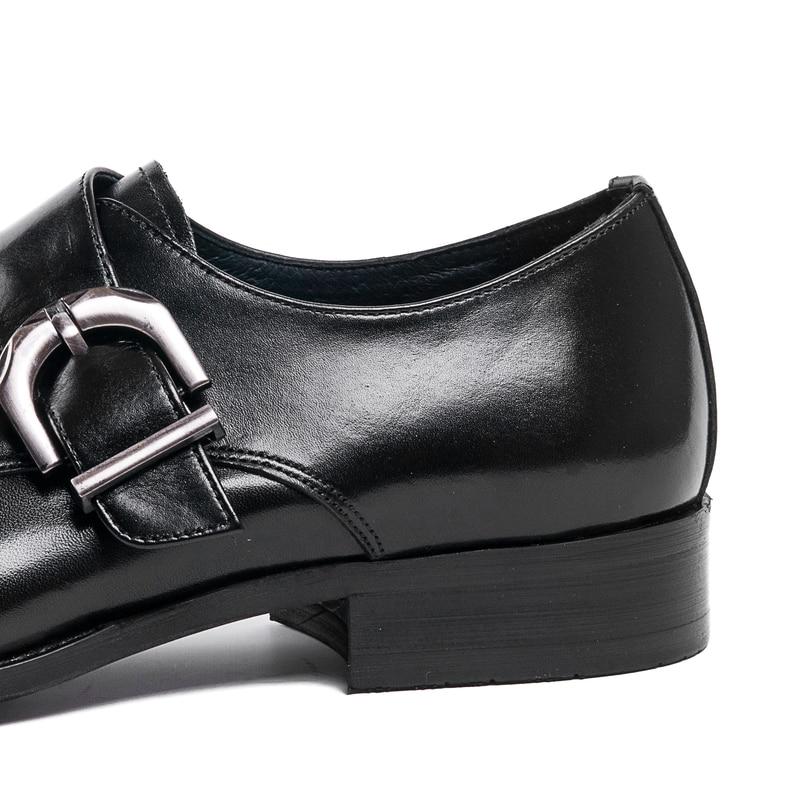 Porc Robe Nouveau Vache Bout Derby 2018 En Véritable Mariage Chaussures Sur Hommes Slip Noir Intérieure Cuir Peau D'affaires De Pointu marron Qualité lFcuKJ3T1