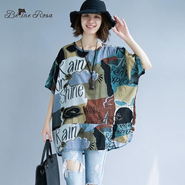 8c42d815f61b BelineRosa Big Sizes Women Clothes Plus Size Women Shirts European Fashion  Printing Short Sleeve Women Tunic 4XL 5XL 666DM019