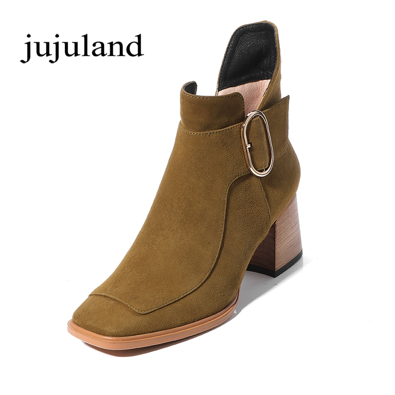 Women Shoes Ankle Martin Chelsea Boots Genuine Leather Square Toe Big Size High Heels Fleeces Zip Zipper Fashion Leisure Buckle big size 34 42 high quality genuine leather leisure low heels ankle boots fashion cowhide round toe platform women boots