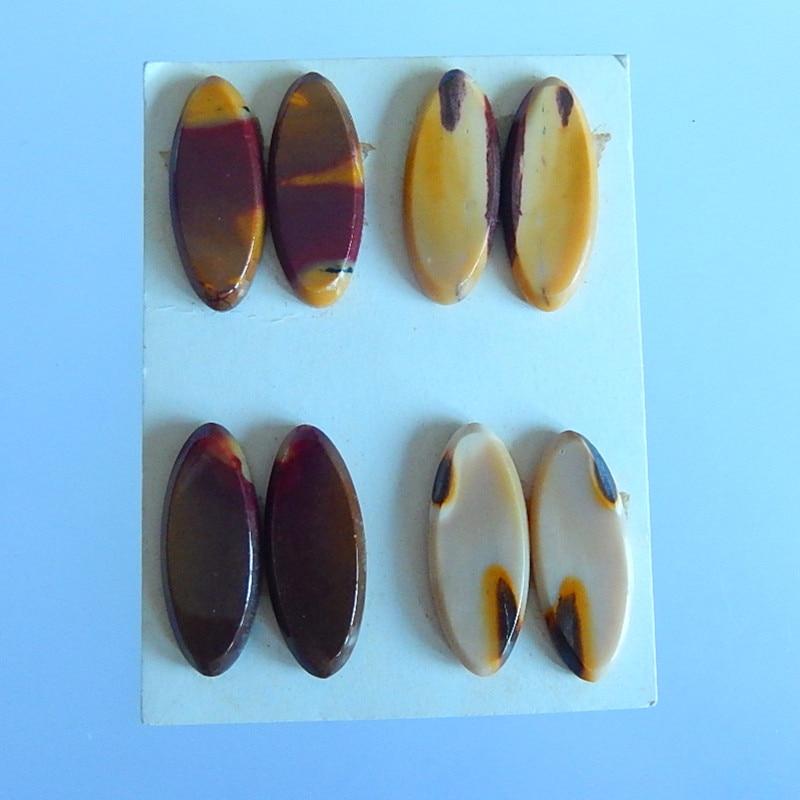 Semiprecious stone wholesale gemstone.4 Pairs Mookite Picasso Jasper earring Cabochon Pairs,25x10x3mm,9.55g wholesale 1 4 2v3a