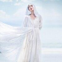 Faye's store, оригинальный дизайн, Новое поступление 2018, винтажный летний кардиган с капюшоном, длинная белая вышитая шифоновая рубашка для женщи