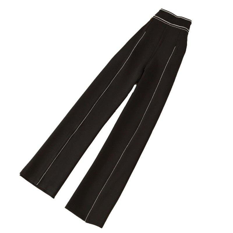 2018 Euramerican Spring Summer New Fashion Slim Fit Casual Straight High Waist High End Quality Elegant Woman   Wide     Leg     Pants