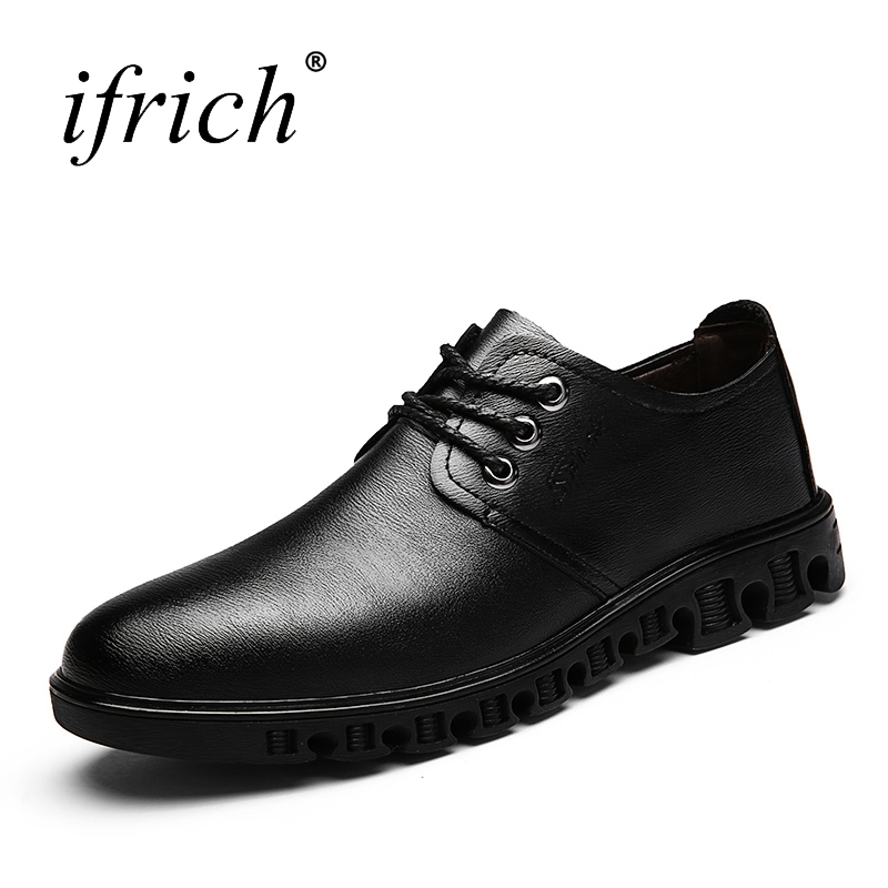 Ifrich New Dress Shoes Men Lace Up Comfortable Black Brown Men Formal Footwear Leather Pointed Toe Shoes for Male 2017 new italian modern men formal oxford shoes genuine leather crocodile print brown lace up dress men s footwear 1815 810