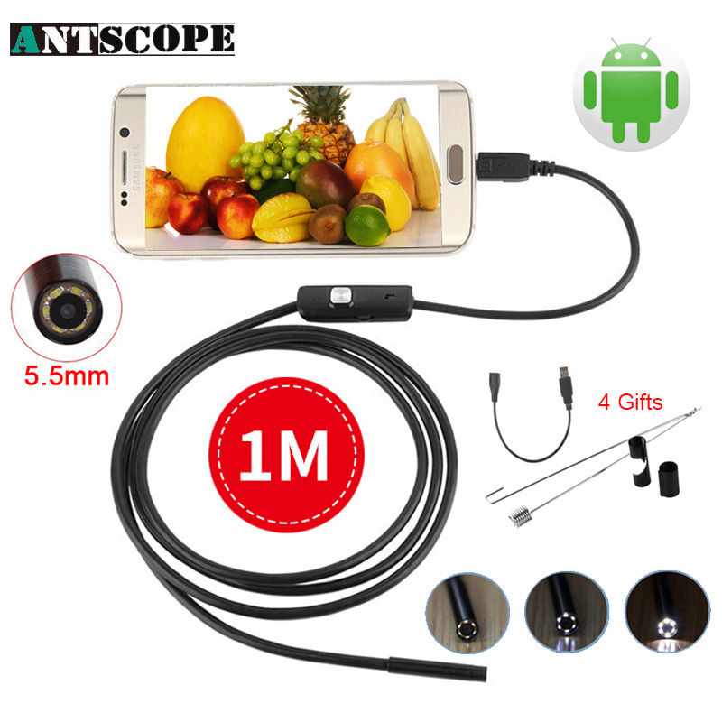 Endoscope 5.5mm USB Endoscope Camera 1M Lens Borescope Inspection OTG IP67 Snake Tube Pipe Endoscopio Camera for Andriod Phone android 2 in 1 usb endoscope camera 8mm lens phone endoscope mini camera inspection borescope tube snake pipe kamera endoscopic