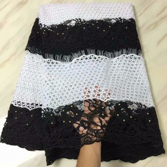 2018 New Design African Dry Lace Fabrics High Quality Cotton Lace Fabric milk fiber With Beads Swiss Voile Lace In Switzerland