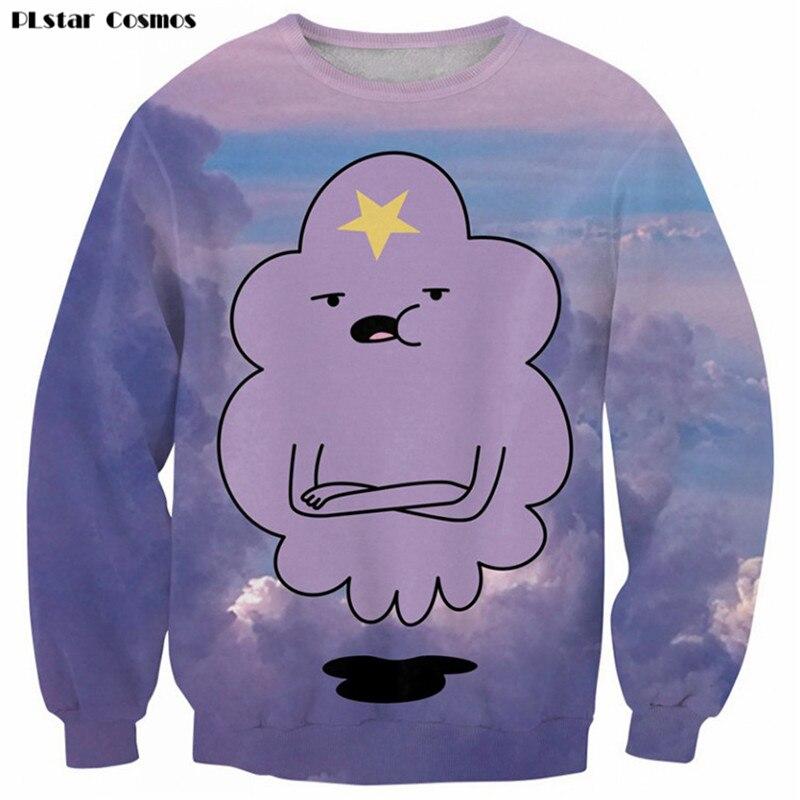 2017 New Lumpy Space Princess Sweatshirt Purple Cloud Beautiful Sweats Lady/Male Casual Hoodies Adventure Time Clothes