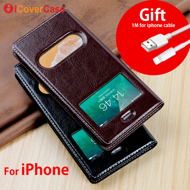 Luxury Leather Case For iPhone X Flip Cover Magnetic Case For iPhone 5 5S SE 6 6S Plus Cases Leaher Cover 7 8 Plus Phone Cases iphone