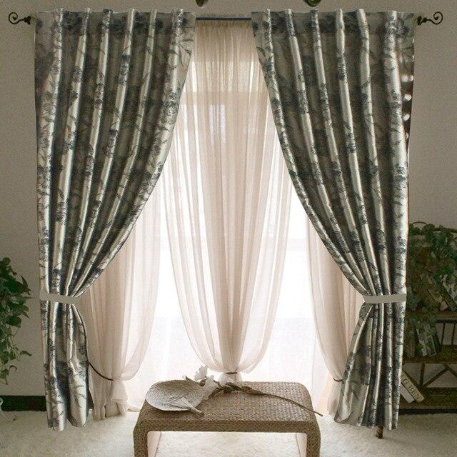 Set di 2 pz jacquard oro finestra tende per la camera da letto ...