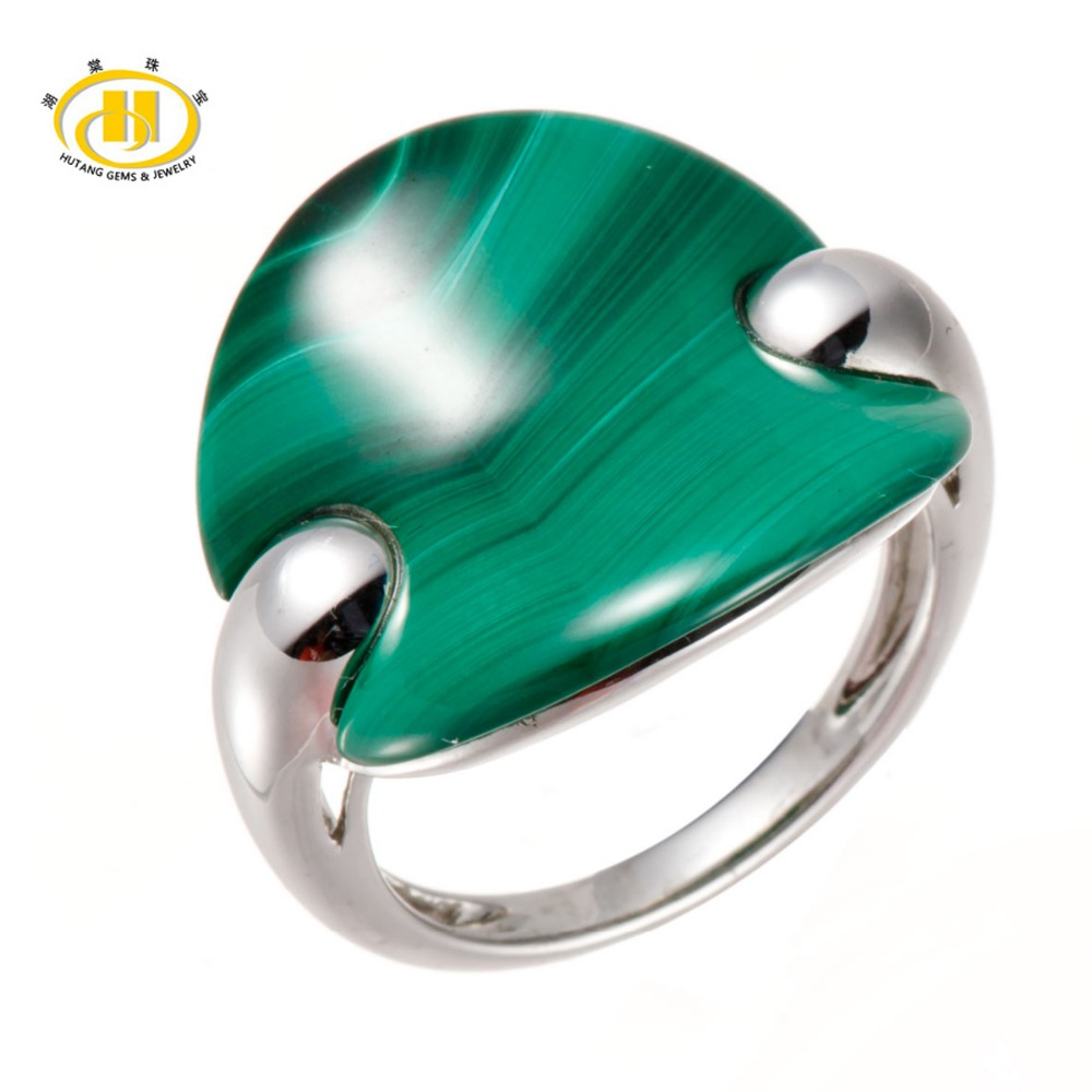 Hutang 100 Natural Fashion Cut Green Malachite Solid 925 Sterling Silver font b Ring b font