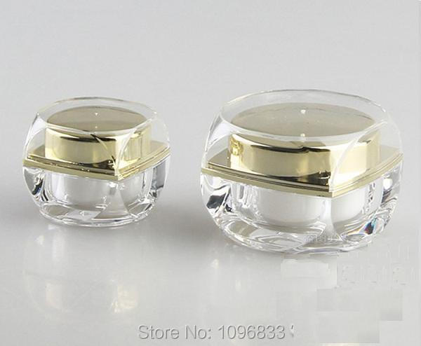 Octagonal Cream Jar Gold Lid 5G Cosmetic Packing Acrylic Jar Golden Cap 5G Cosmetics Packaging Jar