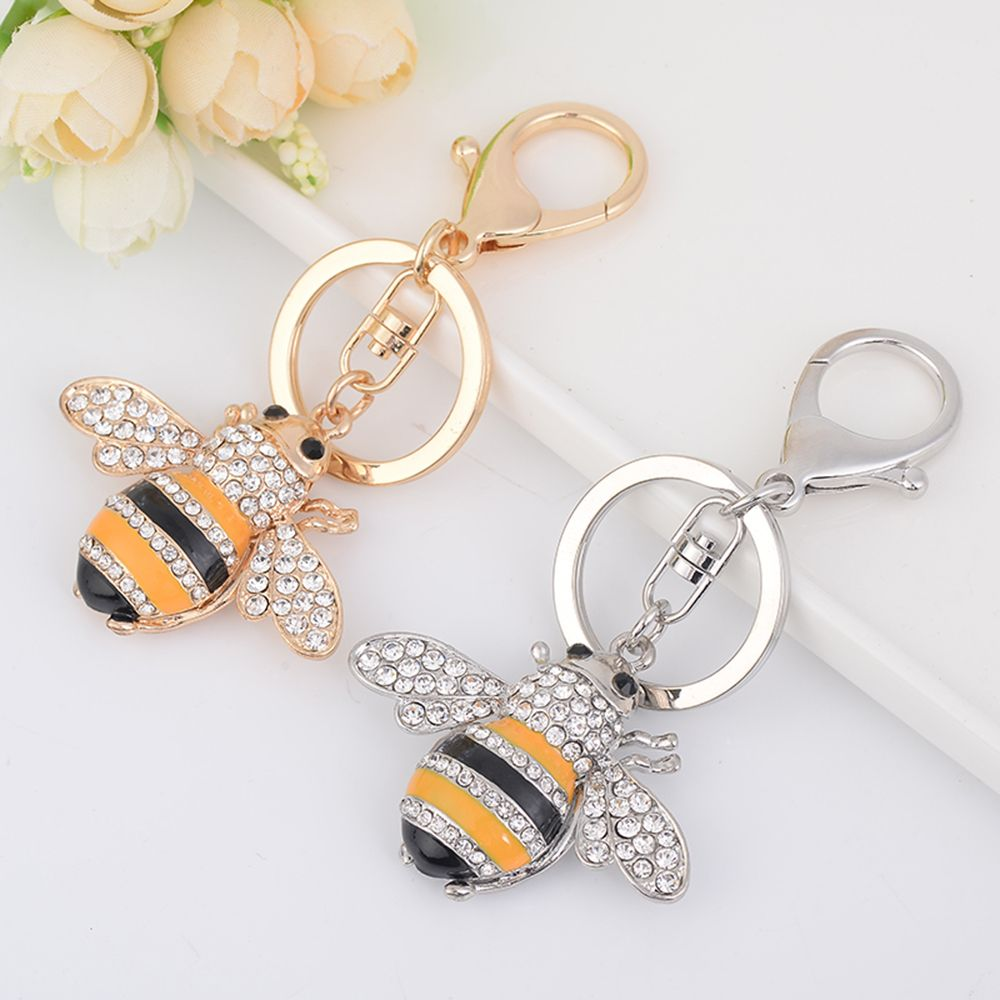 Fashion Rhinestone Bee Insect Shape Metal Key Chain Key Ring Handbag Pendant Lover Gift Insect Shape Lovely Bee Vivid And Great In Style