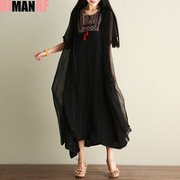 DIMANAF Women Dress Plus Size Vintage Summer Chinese Style Embroidery Printing Female Shawl Elegant Casual Two