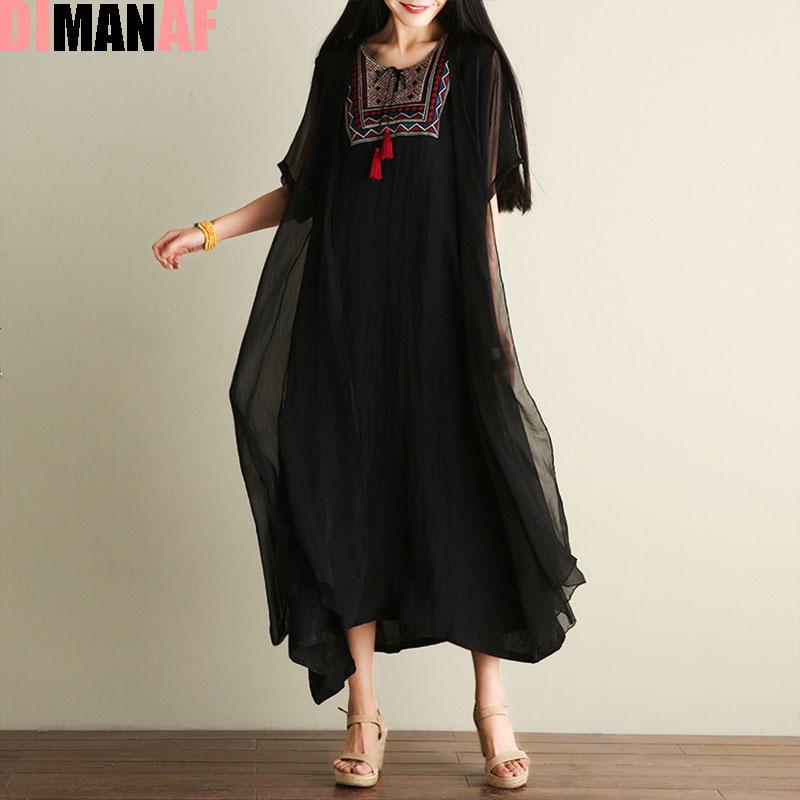 DIMANAF női ruha plusz méretű vintage nyári kínai stílusú hímzés nyomtatás női kendő elegáns alkalmi kétrészes ruha ruha