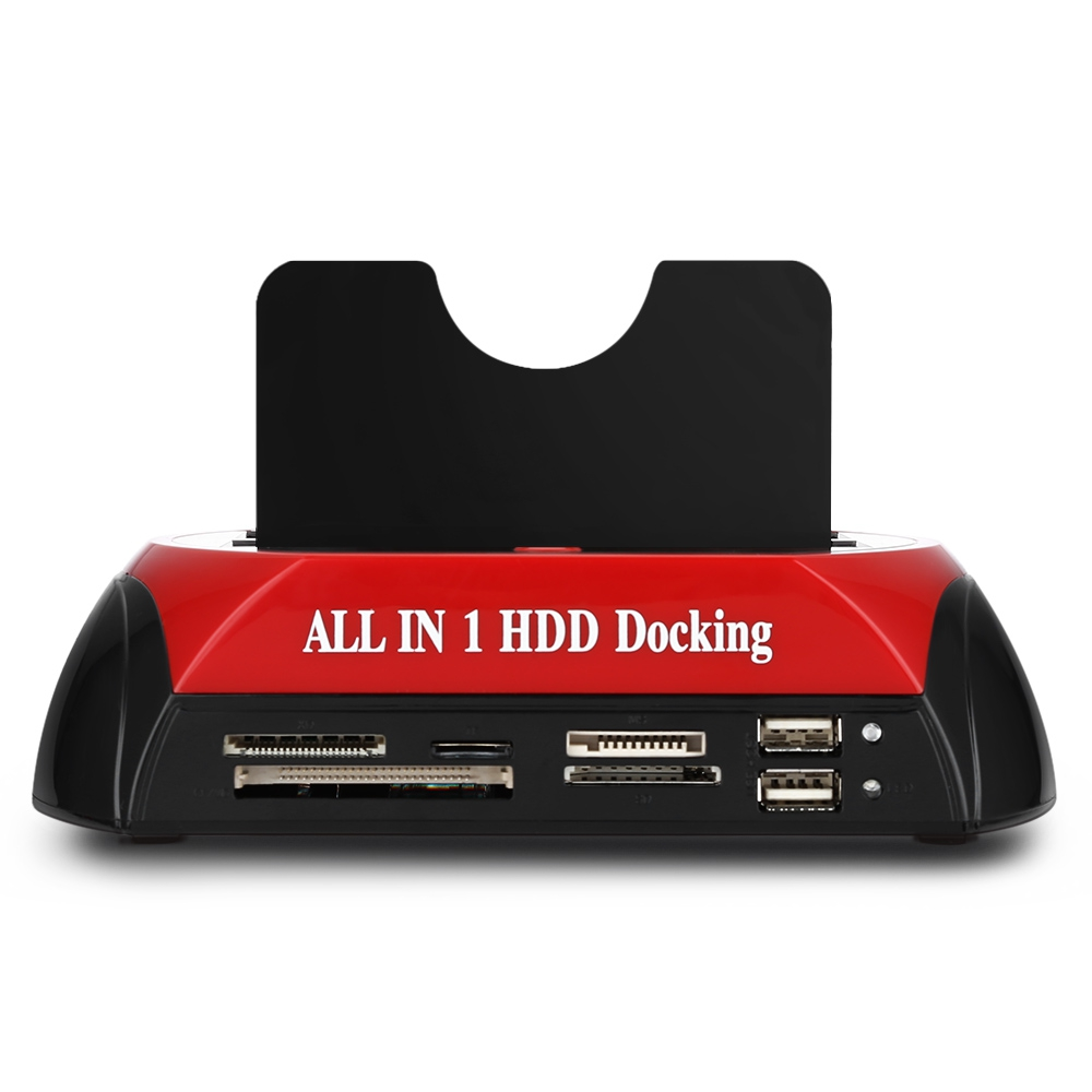 All in One Dual Bay 2.5 Inch 3.5 Inch HDD Docking Station eSATA USB 2.0 to IDE SATA Hard Disk OTB Cloning Dock With Card Reader