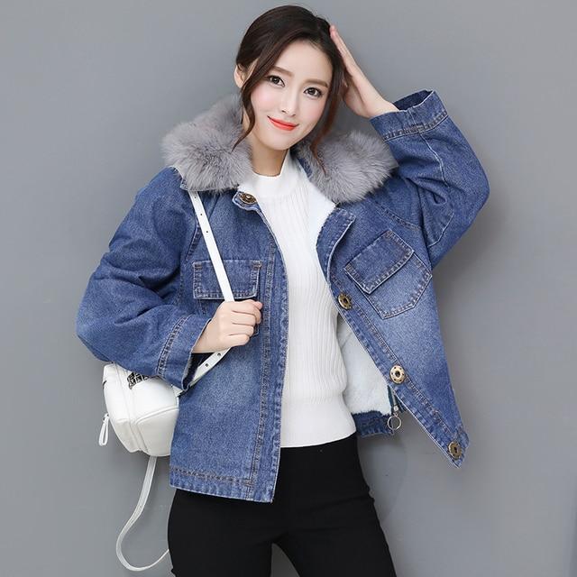 769c60b1c37a9 High Quality Fur Oversized Women Autumn Bomber Thick Cotton Coat Jeans  Denim Jacket Ladies Windbreaker Female Winter Bomber