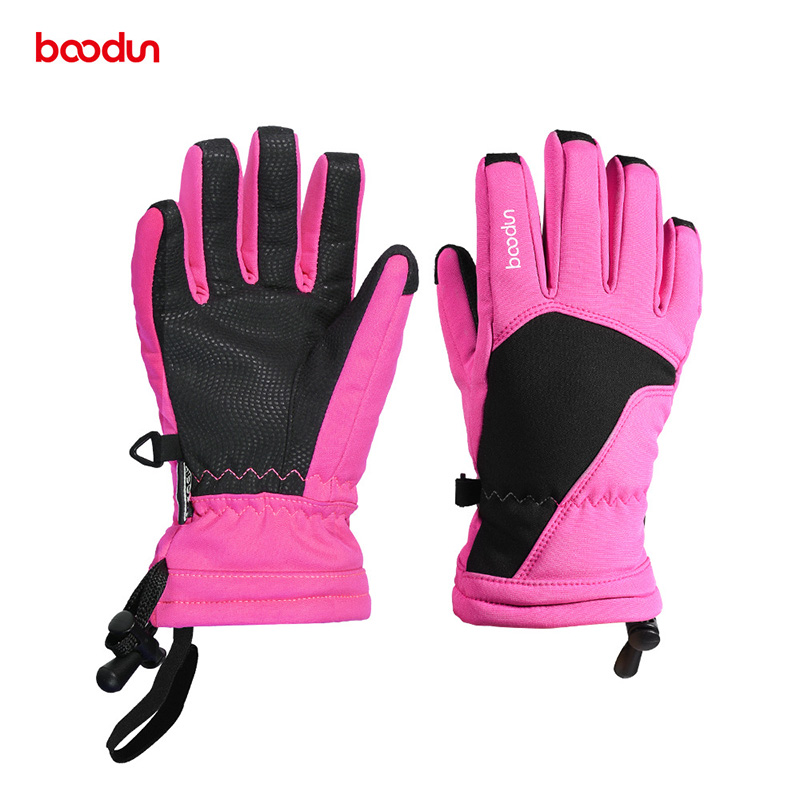 BOODUN Winter Children Snow Sport Gloves Warm Velvet Skiing Snowboard Gloves Kids Riding Mittens 6-12 Years Old