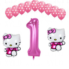 1 set hello kitty 40 inch balon nomor pink dot gelombang balon lateks baby shower gadis 1st 2nd birthday party decor anak persediaan