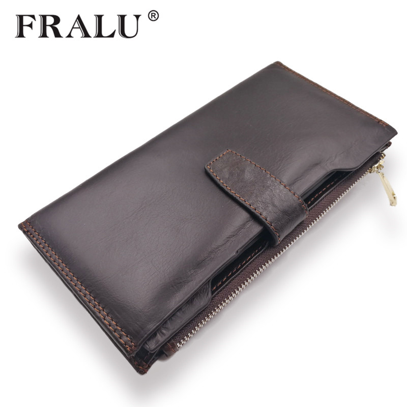 ФОТО FRALU Designer Italian Burnished Leather Purse with Bifold 100% Genuine Real Leather Wallet Brown Men Clutch Brand Wallets