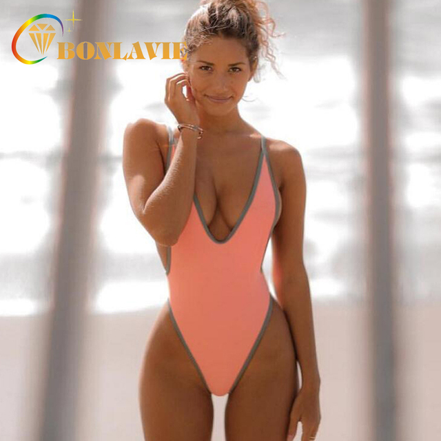 b84012d10be 2018 Hot Sell Solid Color One Piece Women s Swimwear Sexy Girls Beach Wear  Triangle Bikini Swimming