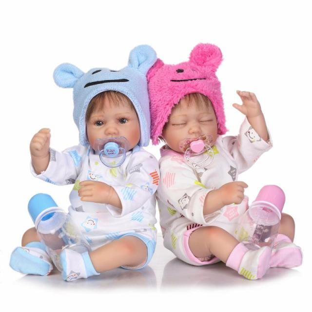Npkcollection 40cm reborn babies silicone dolls real cute newborn twins lifelike sleeping girl boy doll christmas