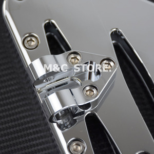 Image 4 - Chrome Front Driver Floorboards Foot Pegs Stretched Pedal For Harley Touring Road King Glide Softail Dyna Street FLH FLST FLD