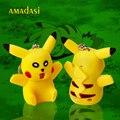 Envío gratis 20 unids/lote 3D LED talking pokemon pokemon pikachu llavero llavero llavero llavero de goma de gel de sílice tecla go anillo