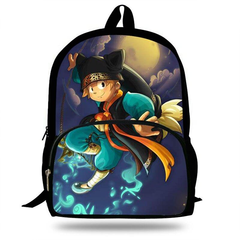 16-Inch Game Wakfu Print Backpack For Teenage Girls Cartoon Set Daily Backpack Children School Bag Boys Mochlia