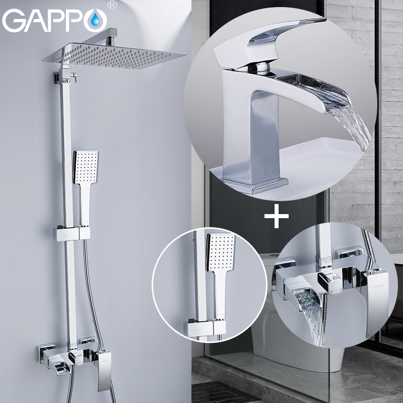 GAPPO shower system bathroom shower mixer waterfall wall mounted rainfall shower set brass basin faucet Sanitary Ware Suite