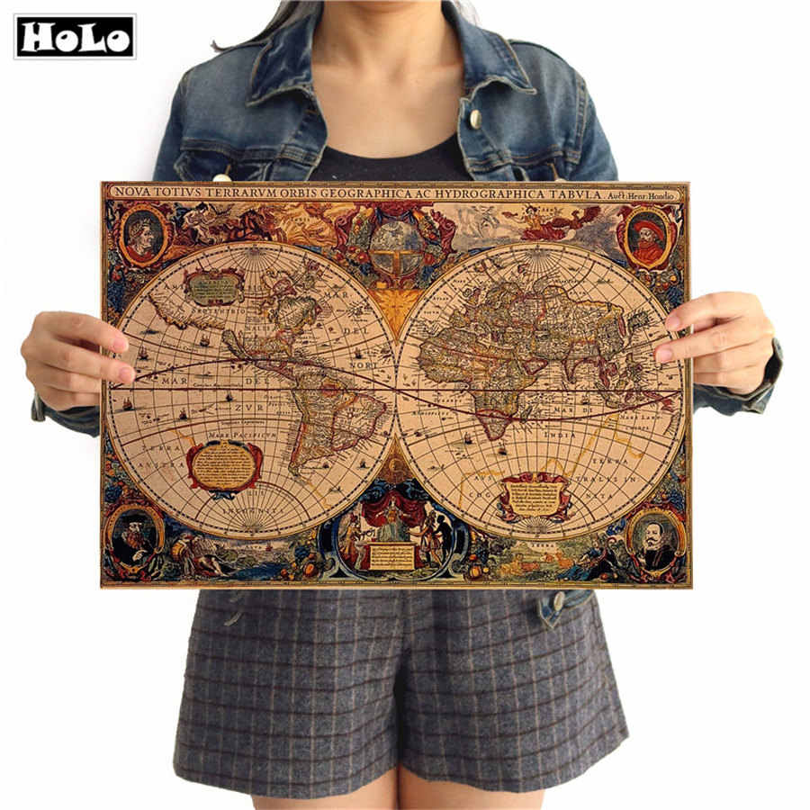 Vintage poster World map retro kraft paper adornment painting wall sticker for home living room cafe 42x30cm GGB048