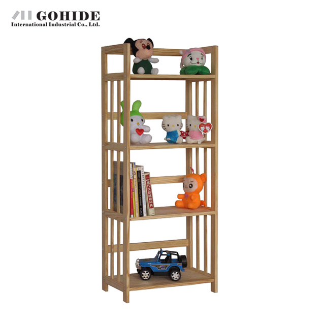 Gohide DIY Pine Bookcase 4 Layer Puzzle Wood Storage Rack Child Bookshelf Living Room Furniture Bookcase Home Furniture