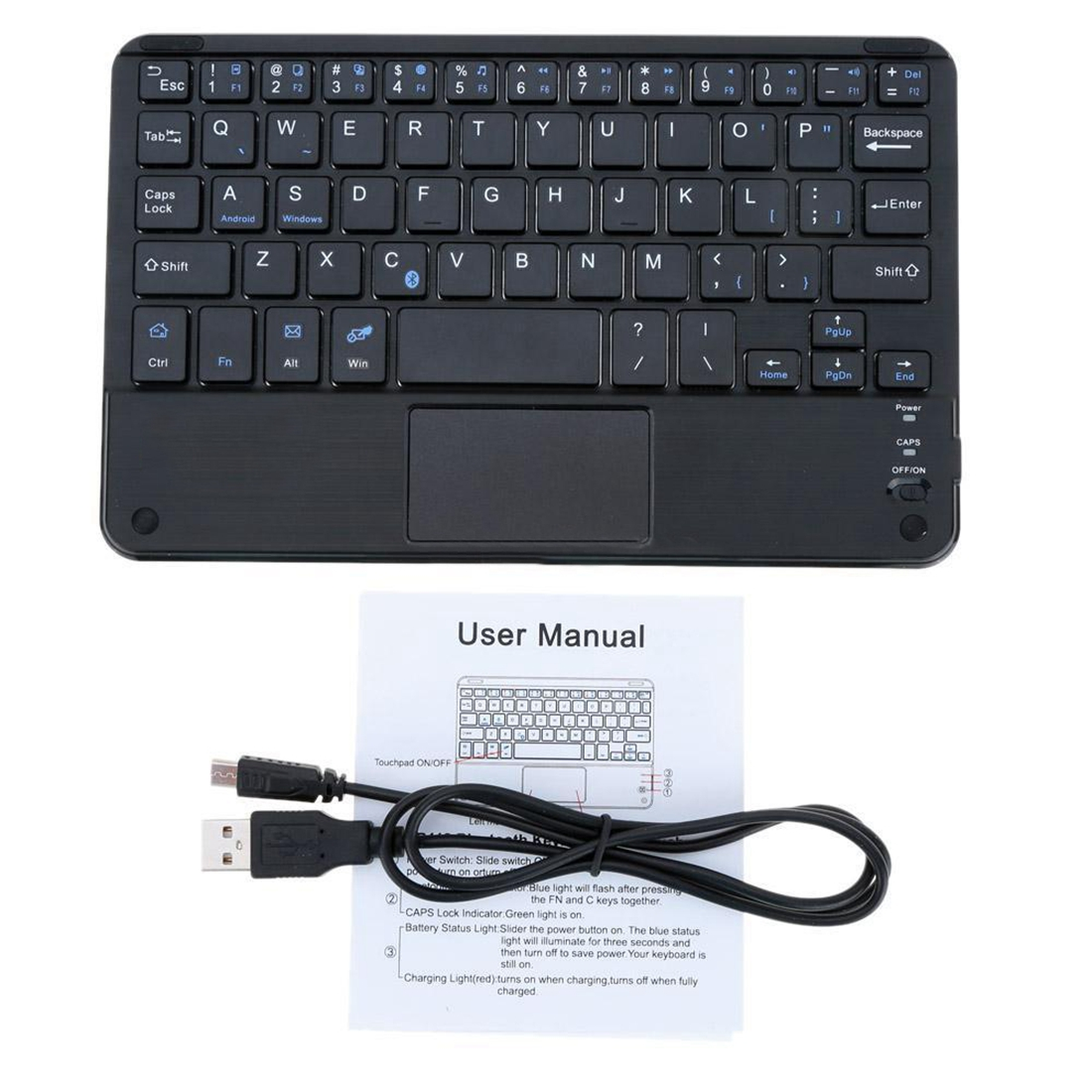 Windows PC 59 Keys Ultra Slim Mini Bluetooth Keyboard with Touch Pad Panel