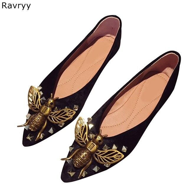 Chic bronze Bee Decoração Da Mulher sapatos flats 2018 Dedo Apontado slip on sapatos femininos V aberto em forma design elegante sapatos casuais - 3