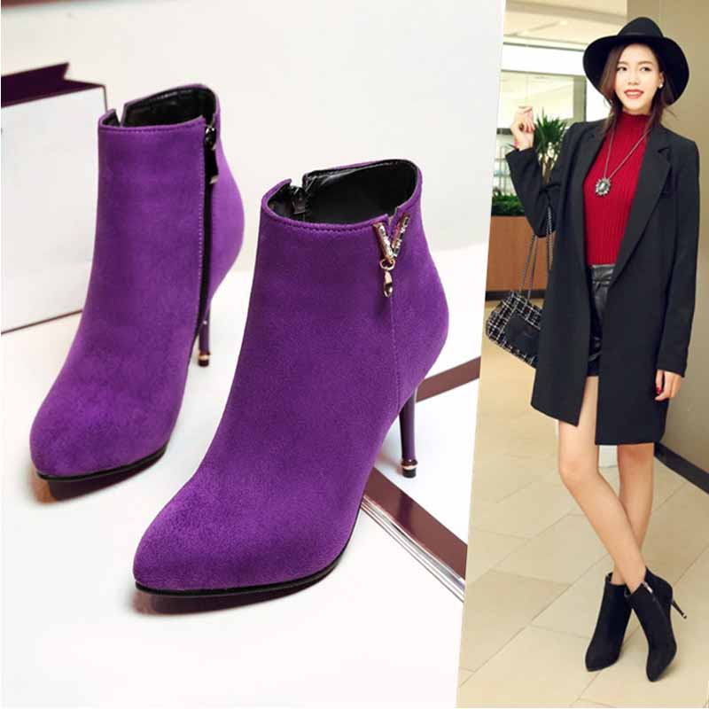 ФОТО 2017 Spring Shoes Martin Boots For Women Suede Pointed Toe Thin Heels Ankle Boots Red Violet Black Boots Woman Shoes SFMB019