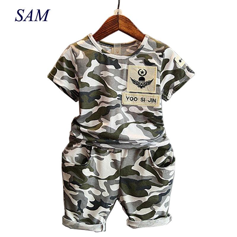 2019 Children Fashion Summer Baby Boys Clothing Sets 2pcs Camouflage Sport Suit Clothes Sets Boys Girls Set 2-7Y