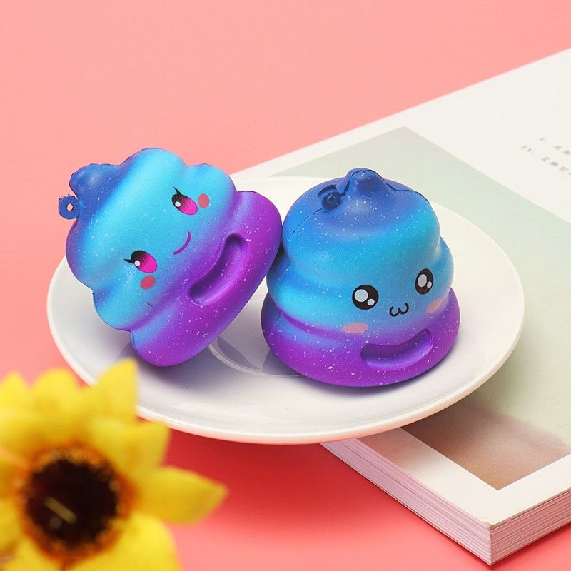 7cm Crazy Star-sky color Cute Poo Squishies jumbo Phone Straps Key Bag Chain Slow Rising Anti stress for Kids Bun Gift Decor