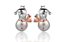 Dormith free shipping  Christmas snowman 925 sterling silver stud earrings for girls Christmas gift Pink gold plate