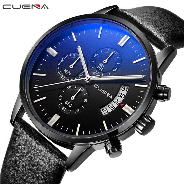 d5106172646 CUENA Marca Men Quartz Relógios Moda Relógio Ocasional Relogio masculino  Relojes Couro Genuíno Homem Relógios de