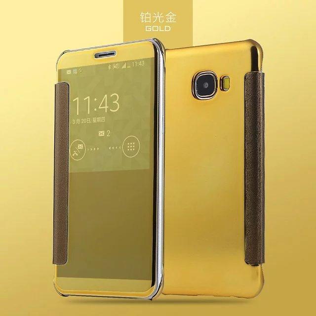 Phone Cover For Samsung 2016 J2Prime On5 J5Prime On7 J7Prime Case Smart Plating Mirror PU Leather+Hard Slim Plastic Flip Case