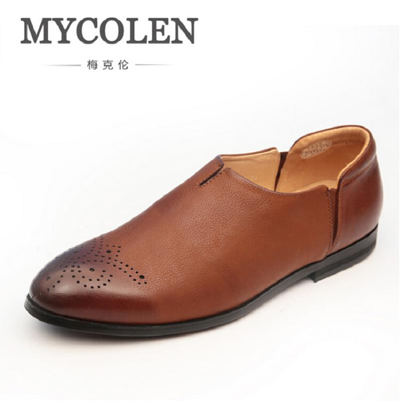 MYCOLEN 2017 Men Shoes Luxury Brand Carved Leather Casual Driving Shoes Men Loafers Moccasins Italian Shoes Business Men Flats zplover fashion men shoes casual spring autumn men driving shoes loafers leather boat shoes men breathable casual flats loafers