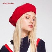 פיות חלומות כומתות צמר כובע נשים אביב סתיו חורף גבירותיי מוצק אדום ורוד שחור חם כובעי אופנה 2017 חמה למכירה לבוש לשמוע