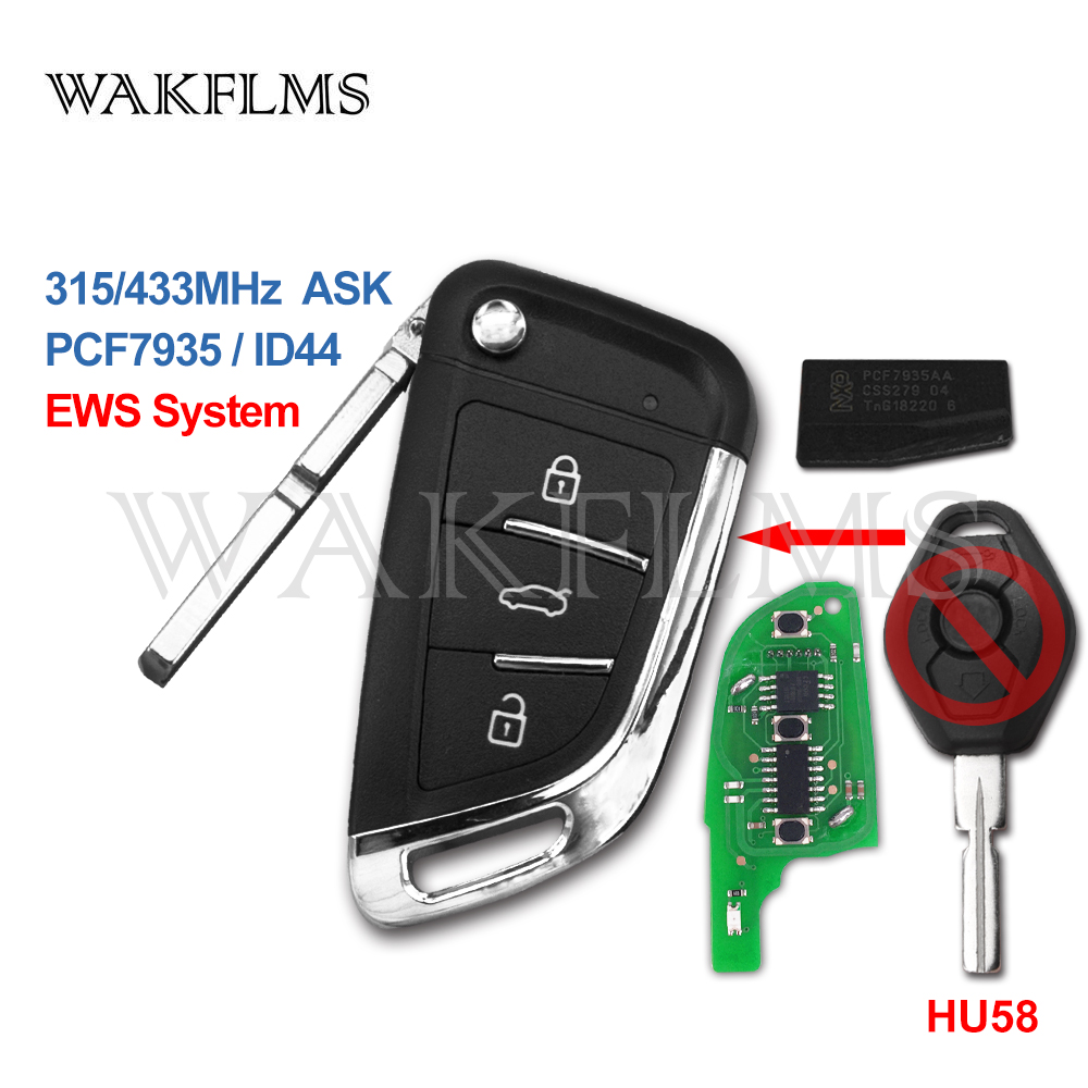 3 Button 433MHz 315MHz ID44 PCF7935 Upgraded DIY Car Remote Key For BMW EWS X3 X5 330 325 525 Series Keyless Entry Transmitter